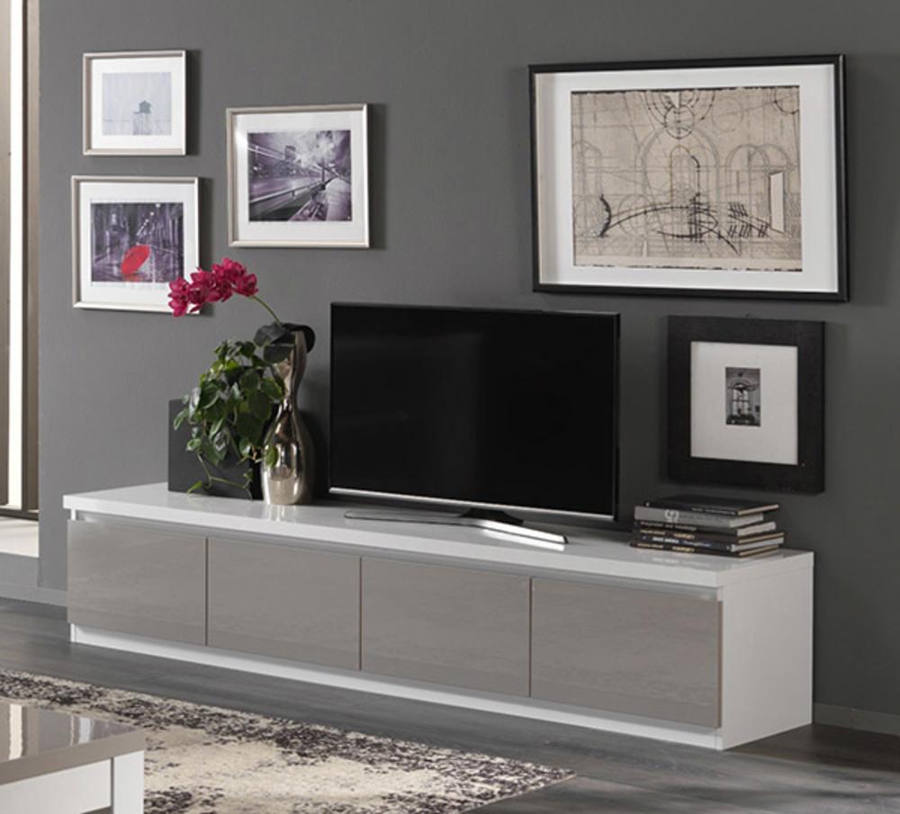 Meuble Tv 4 Portes Roma Laque Bicolore Blanc Gris