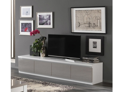 Meuble tv 4 portes Roma laqué bicolore blanc/gris