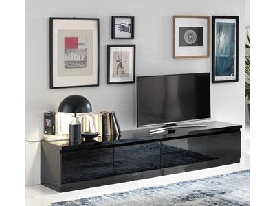 Meuble tv 4 portes Roma laqué noir