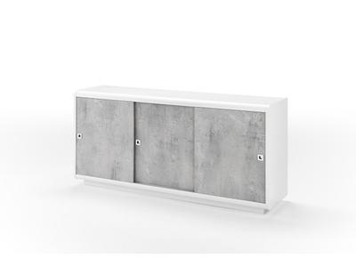 Bahut 3 portes Luna laqué blanc/béton brillant