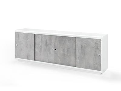 Bahut 4 portes Luna laqué blanc/béton