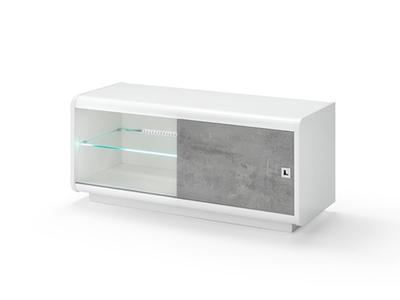 Meuble tv Luna laqué blanc/béton
