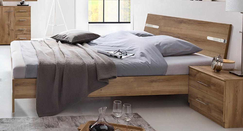 Pack lit+2 chevets Anna chambre à coucher chene poutre