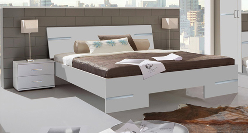 Pack lit + 2 chevets Anna chambre à coucher blanc