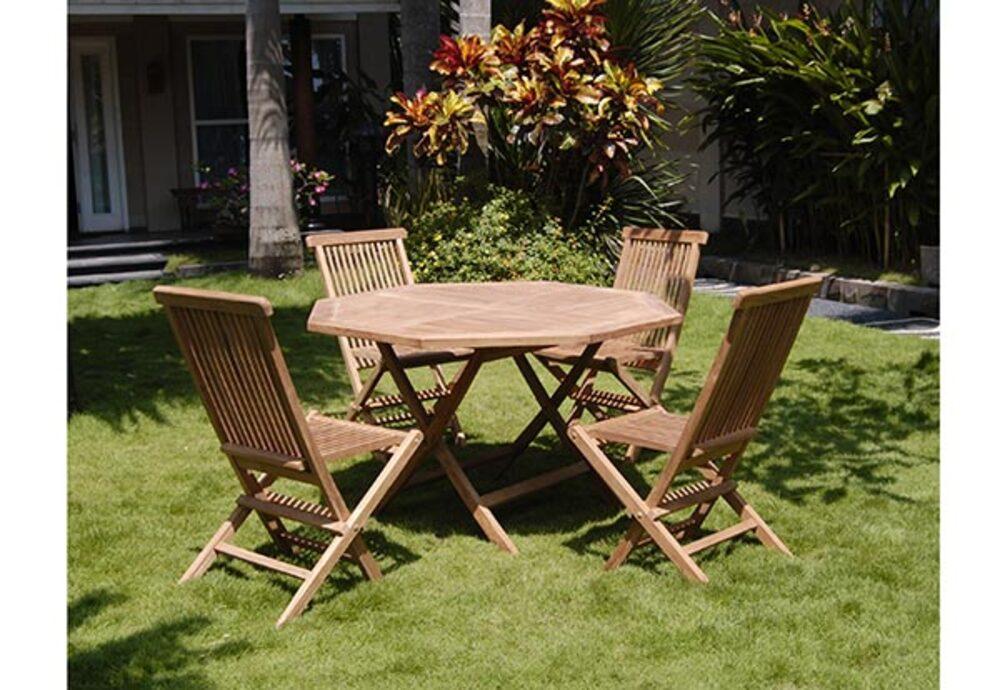 Ensemble table de repas octogonale + 4 chaises Surabaya