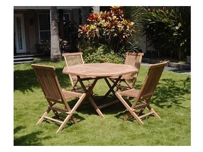 Ensemble table de repas octogonale + 4 chaises