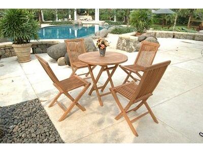 Ensemble table de repas  ronde + 4 chaises Surabaya