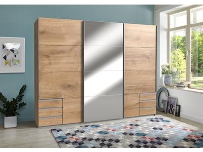 Armoire 3 portes coulissantes dont 1 miroir et 6 tiroirs