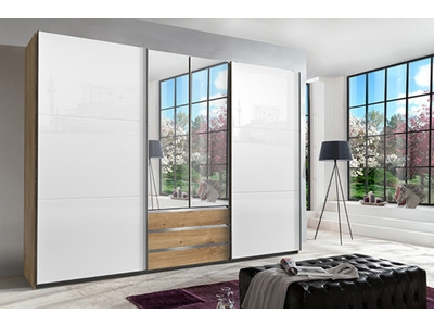 Armoire 2p miroirs + 2p coulissantes Magic glas