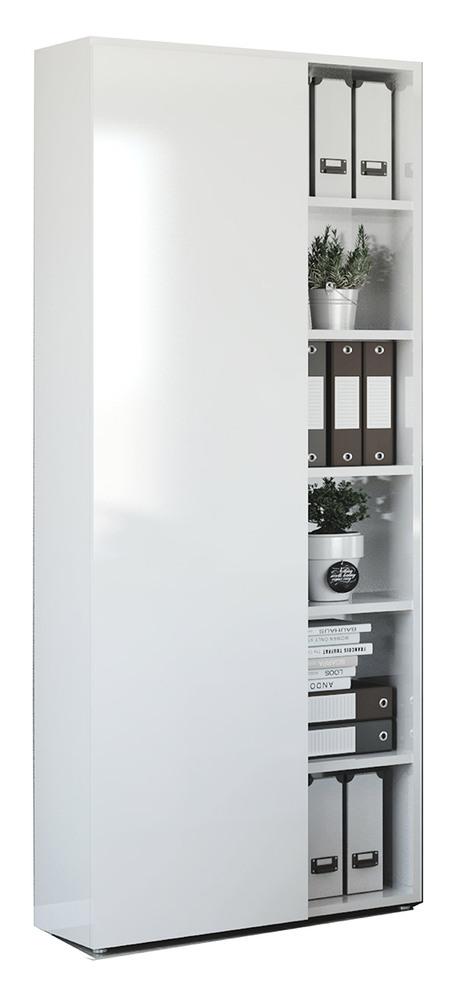 bibliotheque avec porte core laqu blanc blanc brillant l. Black Bedroom Furniture Sets. Home Design Ideas
