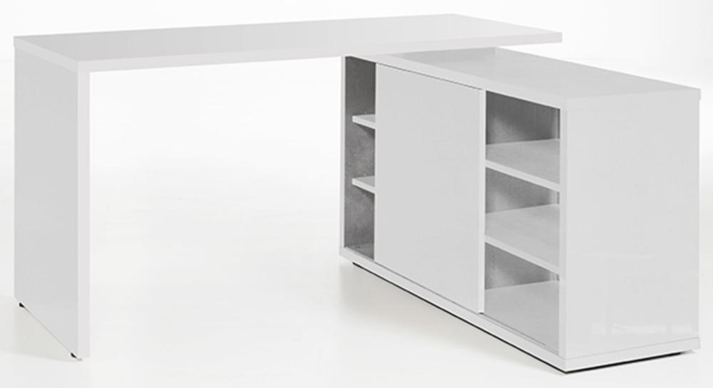 Bureau D Angle Reversible Core Laque Blanc Blanc Brillant