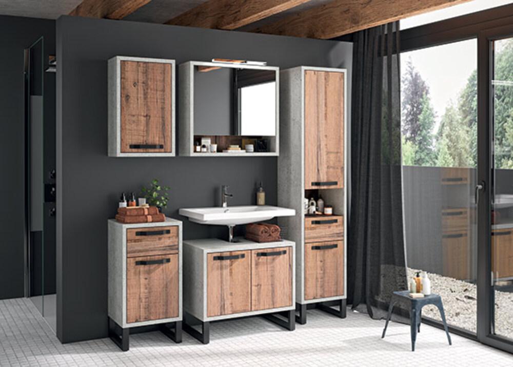 Meuble bas 2 portes la fabrica salle de bain chene vieilli - Meuble bas salle de bain sans vasque ...