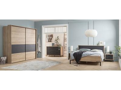 Commode 2 portes 3 tiroirs Oronero chambre à coucher