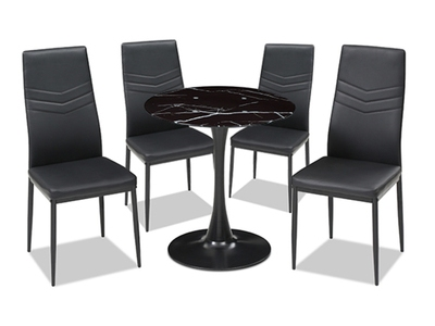 Ensemble table ronde + 4 chaises Livio