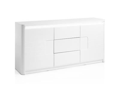 Bahut 2 portes 3 tiroirs Bellini laqué blanc