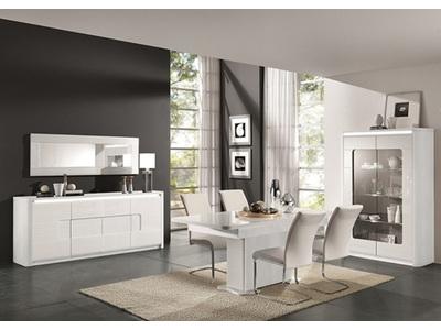 Bahut 4 portes 1 tiroir Bellini laqué blanc
