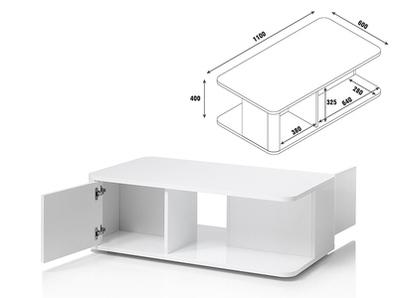 Table basse 2 portes Bellini laqué blanc