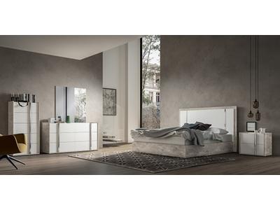 Miroir Treviso chambre à coucher Laqué blanc/ciment