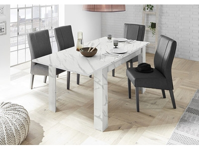 Table de repas extensible Ice marbre blanc