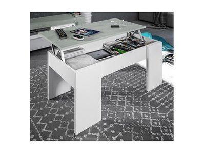 Table basse relevable Aura blanc/béton