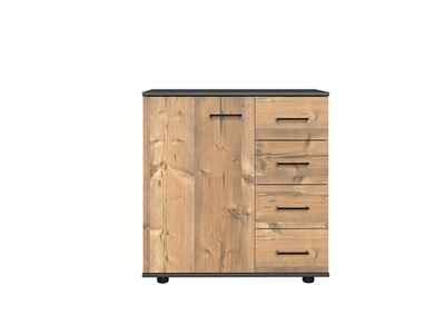 Commode 1 porte 4 tiroirs Anna chambre à coucher silver/graphite