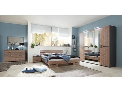 Pack armoire 3p+lit 140 + 2 chevets Anna chambre à coucher silver/graphite