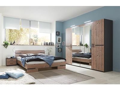Pack armoire 4p+lit 140 + 2 chevets Anna chambre à coucher silver/graphite