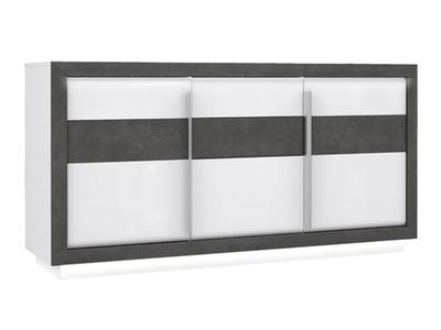 Bahut 3 portes 2 tiroirs Cannes blanc/béton