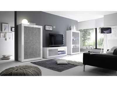 Meuble tv gm Costa blanc brillant/béton