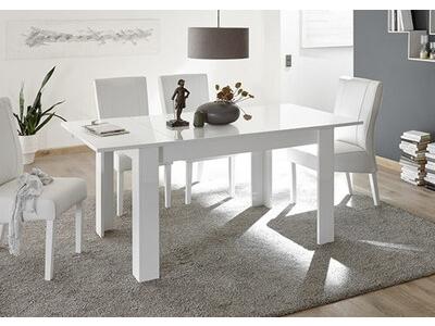 Table de repas extensible Costa blanc brillant/béton