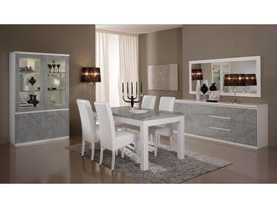 Bahut 2 portes 3 tiroirs Roma laqué blanc/marbré gris