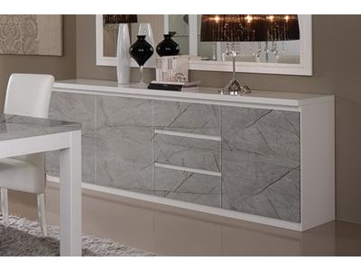 Bahut 3 portes 3 tiroirs Roma laqué blanc/marbré gris