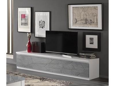 Meuble tv 4 portes Roma laqué blanc/marbré gris