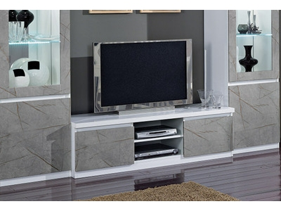 Meuble tv plasma Roma laqué blanc/marbré gris