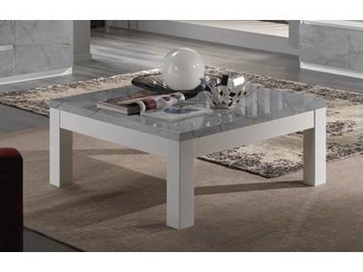 Table basse Roma laqué blanc/marbré gris