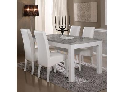 Table de repas Roma laqué blanc/marbré gris