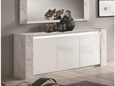 Bahut 3 portes Vittoria marbre blanc/laqué blanc