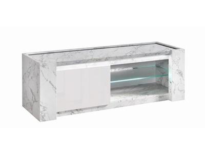 Meuble tv pm Vittoria marbre blanc/laqué blanc