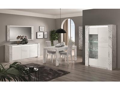 Table de repas Vittoria marbre blanc/laqué blanc