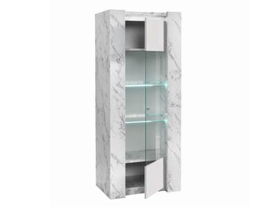 Vitrine 1 porte Vittoria marbre blanc/laqué blanc