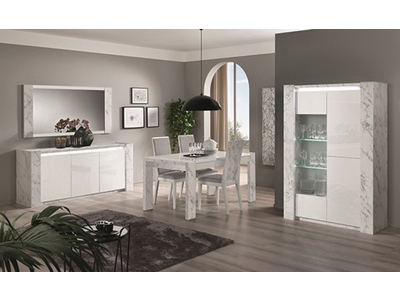 Vitrine 3 portes Vittoria marbre blanc/laqué blanc