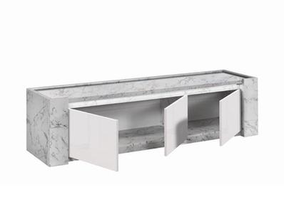 Meuble tv Vittoria marbre blanc/laqué blanc