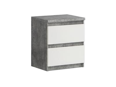 Chevet 2 tiroirs Chelsea blanc/béton