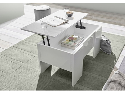 Table basse relevable Ice blanc brillant