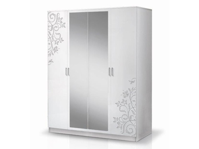 Armoire 4 portes Mary flower brillant