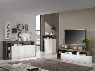 Meuble tv Fribourg laqué blanc/oxyde noir