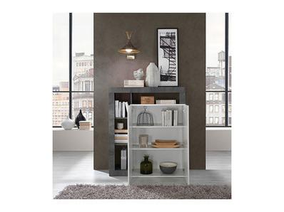 Meuble 2 portes Fribourg laqué blanc/oxyde noir