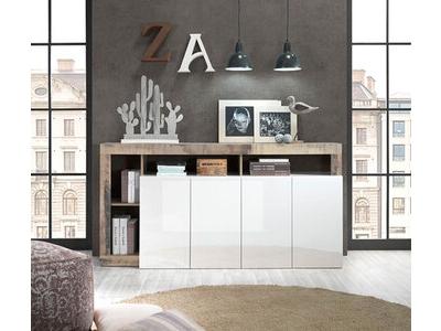 Bahut 4 portes Fribourg laqué blanc/vintage