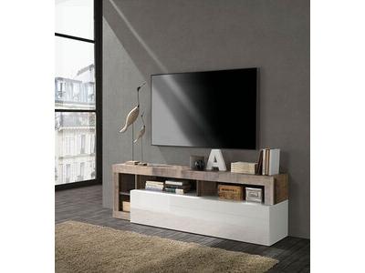 Meuble tv Fribourg laqué blanc/vintage