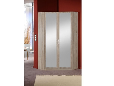Armoire d'angle 2 portes miroirs